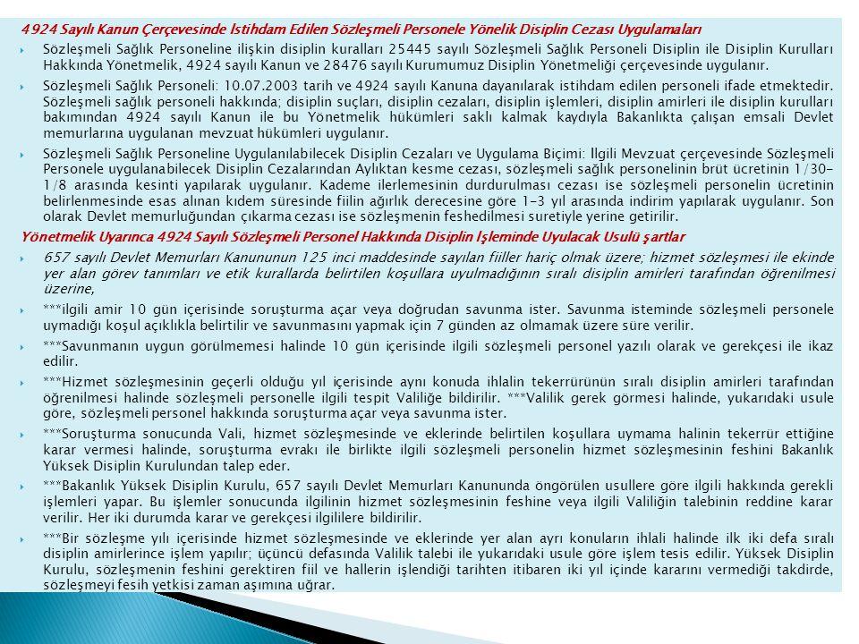 4924 Sayılı Kanun Çerçevesinde İstihdam Edilen Sözleşmeli Personele Yönelik Disiplin Cezası Uygulamaları