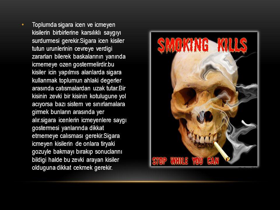 Toplumda sigara icen ve icmeyen kisilerin birbirlerine karsılıklı saygıyı surdurmesi gerekir.Sigara icen kisiler tutun urunlerinin cevreye verdigi zararları bilerek baskalarının yanında icmemeye ozen gostermelirdir.bu kisiler icin yapılmıs alanlarda sigara kullanmak toplumun ahlaki degerler arasında catısmalardan uzak tutar.Bir kisinin zevki bir kisinin kotulugune yol acıyorsa bazı sistem ve sınırlamalara girmek bunların arasında yer alır.sigara icenlerin icmeyenlere saygı gostermesi yanlarında dikkat etmemeye calısması gerekir.Sigara icmeyen kisilerin de onlara tiryaki gozuyle bakmayı bırakıp sonuclarını bildigi halde bu zevki arayan kisiler olduguna dikkat cekmek gerekir.