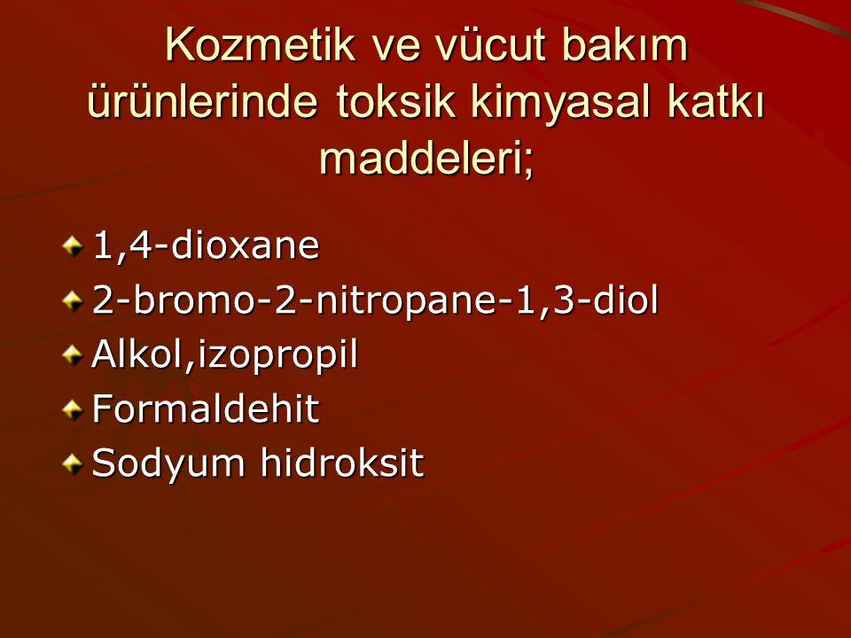 Kozmetik ve vücut bakım ürünlerinde toksik kimyasal katkı maddeleri;