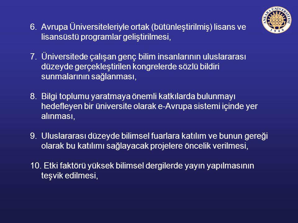 6. Avrupa Üniversiteleriyle ortak (bütünleştirilmiş) lisans ve lisansüstü programlar geliştirilmesi,