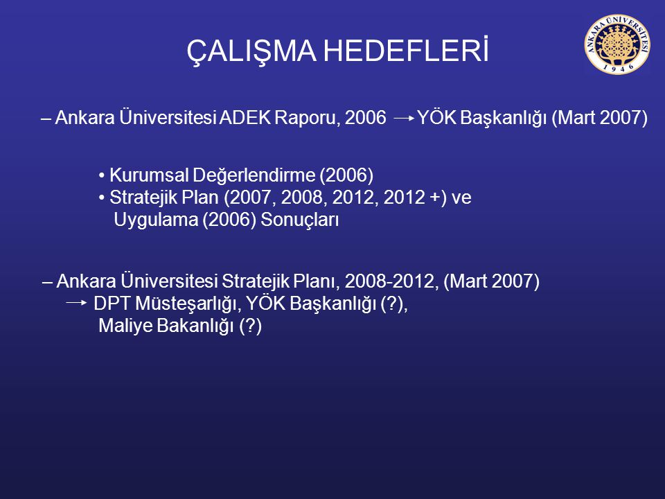 ÇALIŞMA HEDEFLERİ Ankara Üniversitesi ADEK Raporu, 2006 YÖK Başkanlığı (Mart 2007) Kurumsal Değerlendirme (2006)