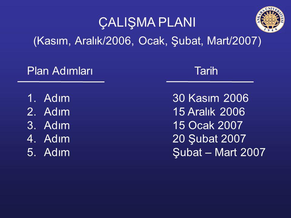 ÇALIŞMA PLANI (Kasım, Aralık/2006, Ocak, Şubat, Mart/2007)