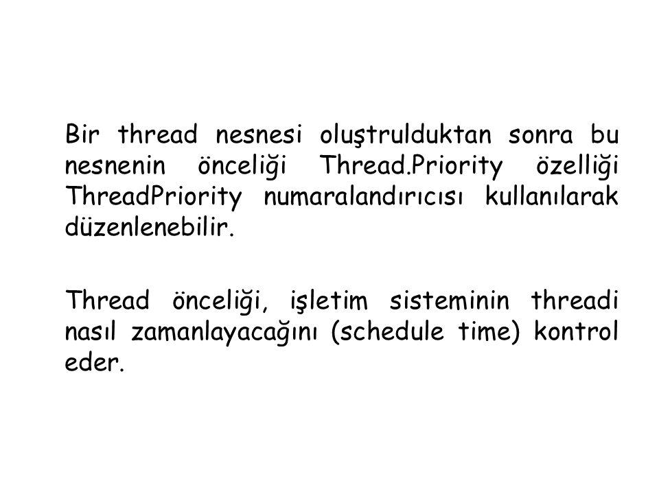 Bir thread nesnesi oluştrulduktan sonra bu nesnenin önceliği Thread