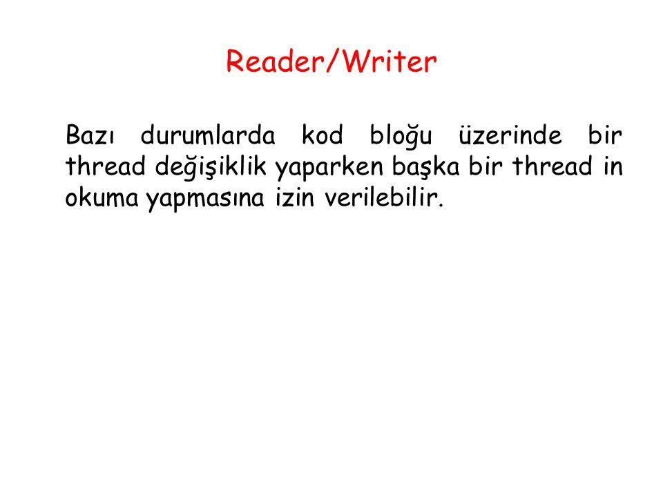 Reader/Writer Bazı durumlarda kod bloğu üzerinde bir thread değişiklik yaparken başka bir thread in okuma yapmasına izin verilebilir.
