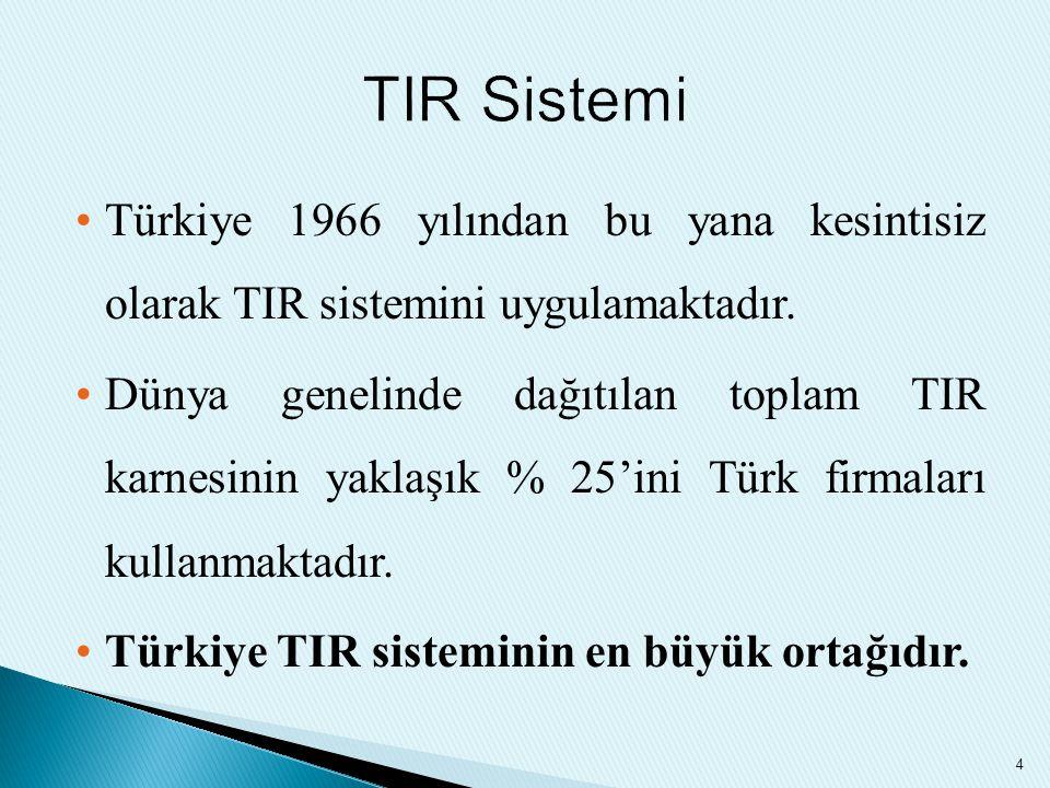 TIR Sistemi Türkiye 1966 yılından bu yana kesintisiz olarak TIR sistemini uygulamaktadır.