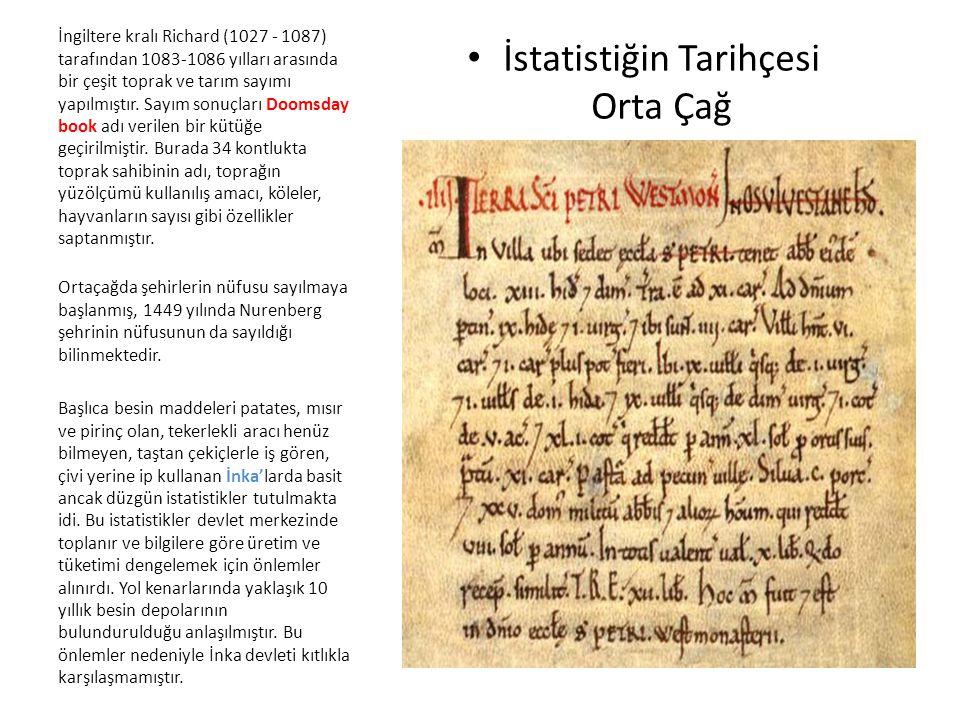 İstatistiğin Tarihçesi Orta Çağ
