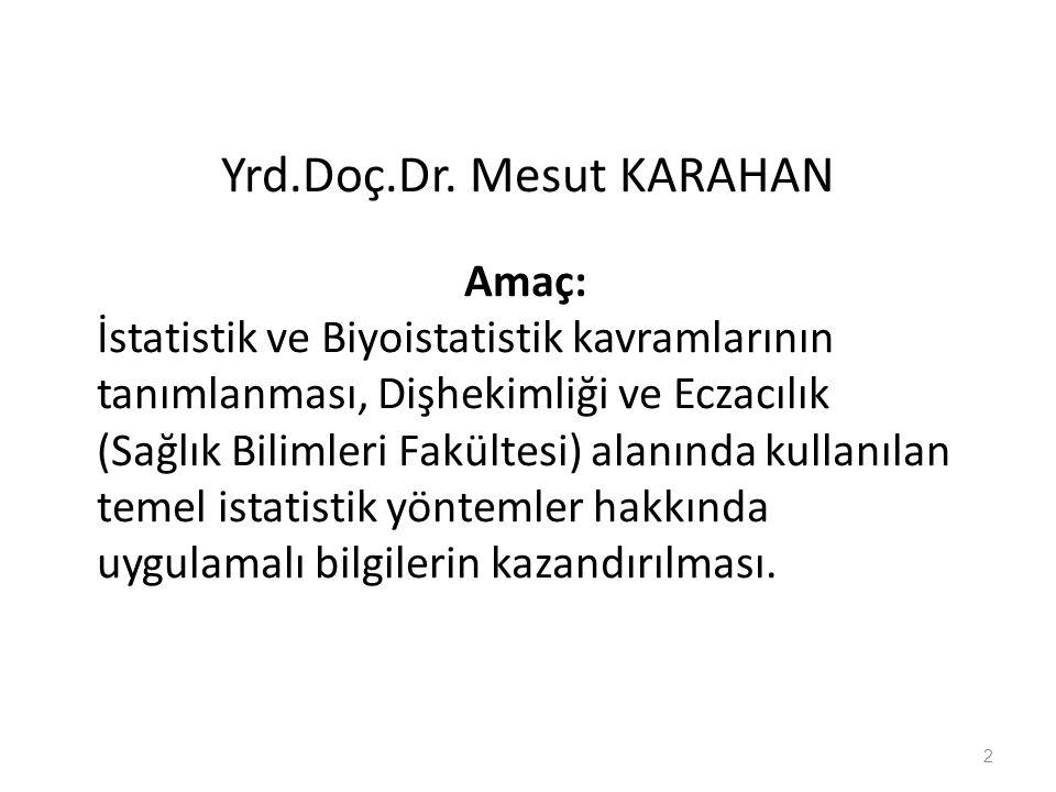 Yrd.Doç.Dr. Mesut KARAHAN