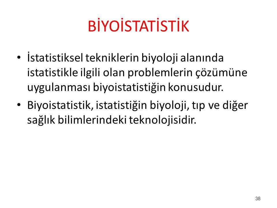 BİYOİSTATİSTİK İstatistiksel tekniklerin biyoloji alanında istatistikle ilgili olan problemlerin çözümüne uygulanması biyoistatistiğin konusudur.