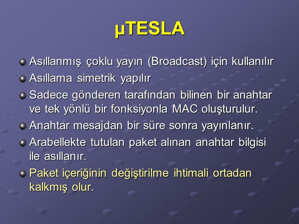 µTESLA Asıllanmış çoklu yayın (Broadcast) için kullanılır