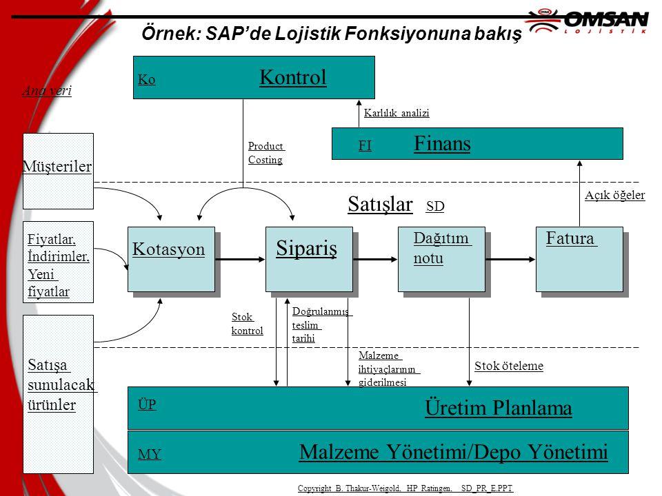 Örnek: SAP'de Lojistik Fonksiyonuna bakış