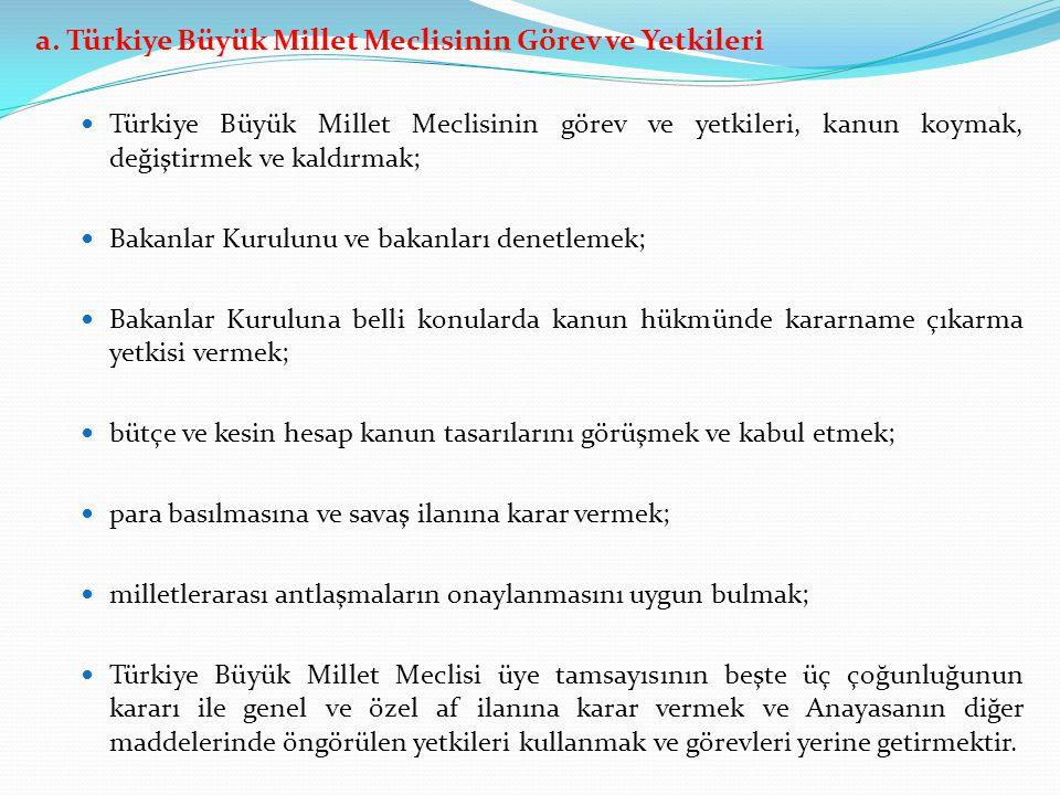 a. Türkiye Büyük Millet Meclisinin Görev ve Yetkileri