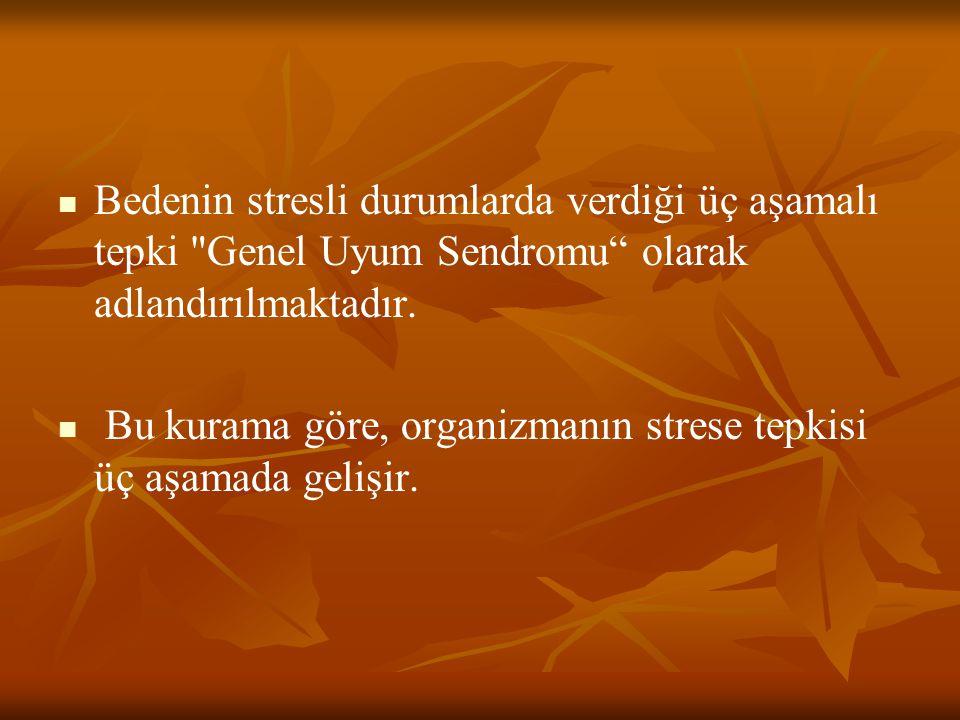 Bedenin stresli durumlarda verdiği üç aşamalı tepki Genel Uyum Sendromu olarak adlandırılmaktadır.