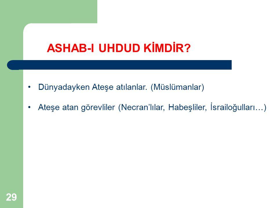 ASHAB-I UHDUD KİMDİR 29 Dünyadayken Ateşe atılanlar. (Müslümanlar)