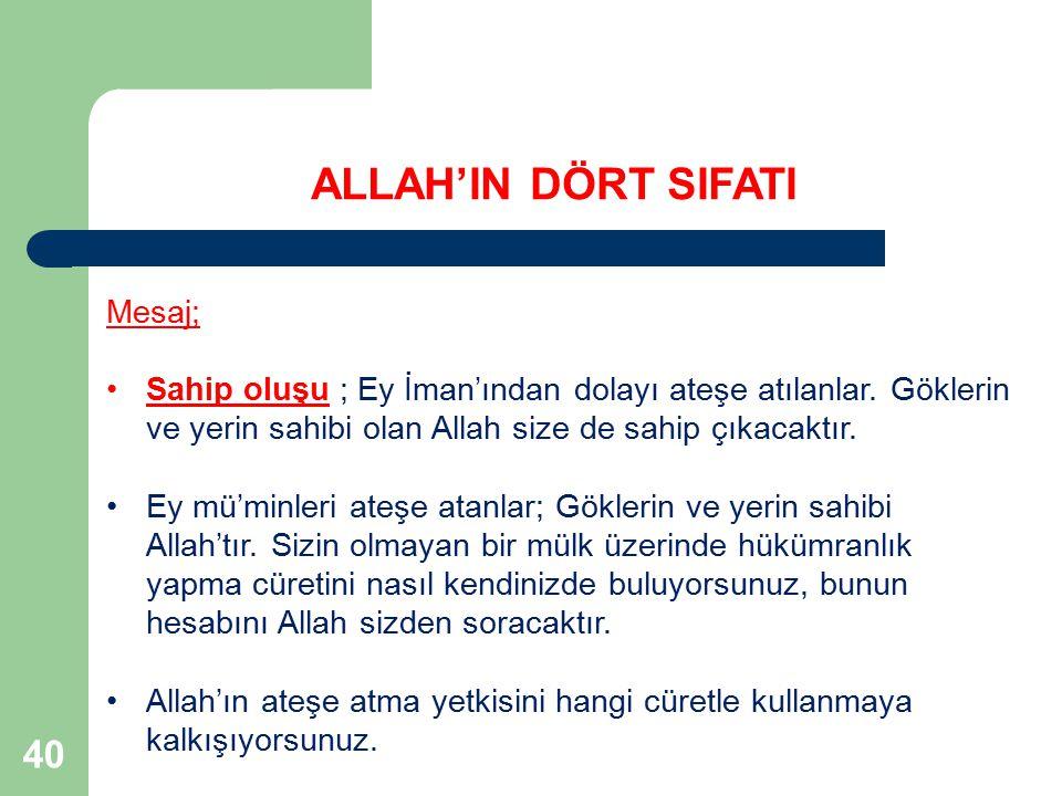 ALLAH'IN DÖRT SIFATI 40 Mesaj;