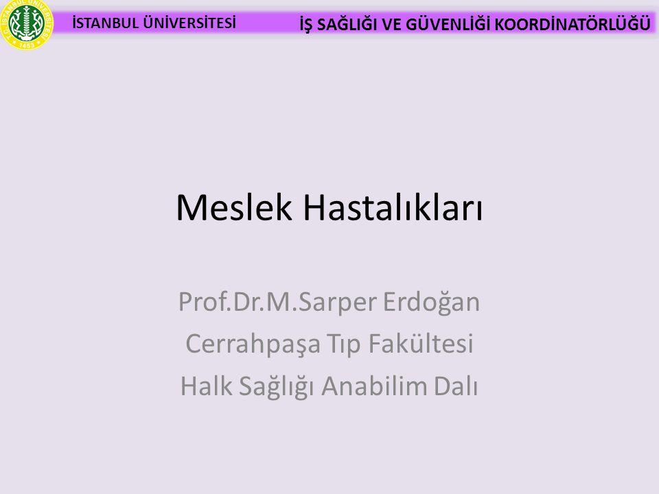 Meslek Hastalıkları Prof.Dr.M.Sarper Erdoğan Cerrahpaşa Tıp Fakültesi