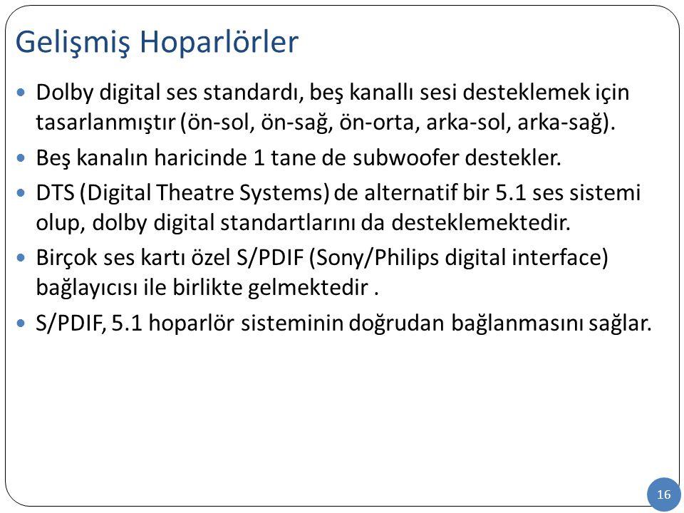 Gelişmiş Hoparlörler Dolby digital ses standardı, beş kanallı sesi desteklemek için tasarlanmıştır (ön-sol, ön-sağ, ön-orta, arka-sol, arka-sağ).