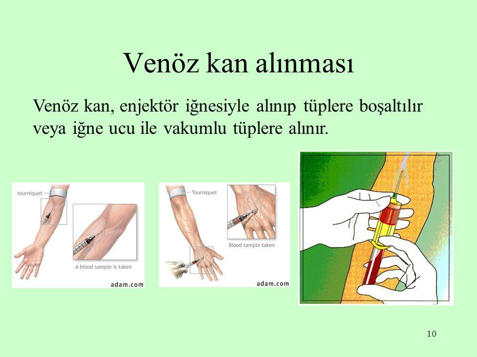 Venöz kan alınması Venöz kan, enjektör iğnesiyle alınıp tüplere boşaltılır veya iğne ucu ile vakumlu tüplere alınır.