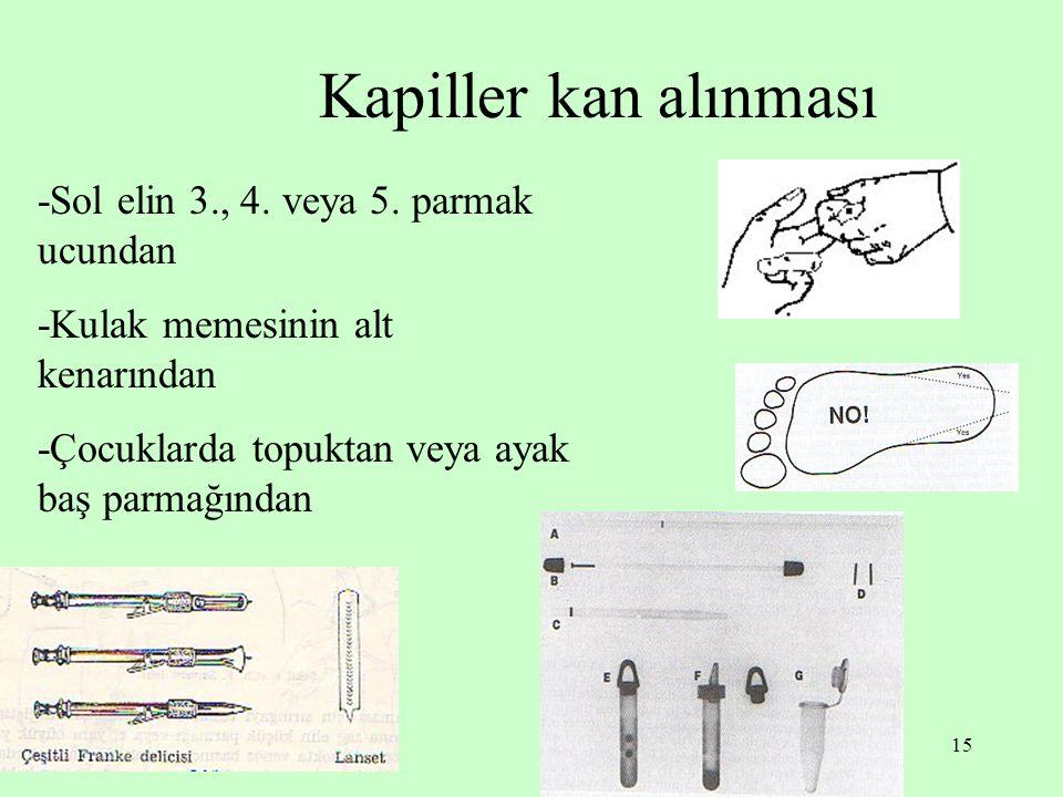 Kapiller kan alınması -Sol elin 3., 4. veya 5. parmak ucundan