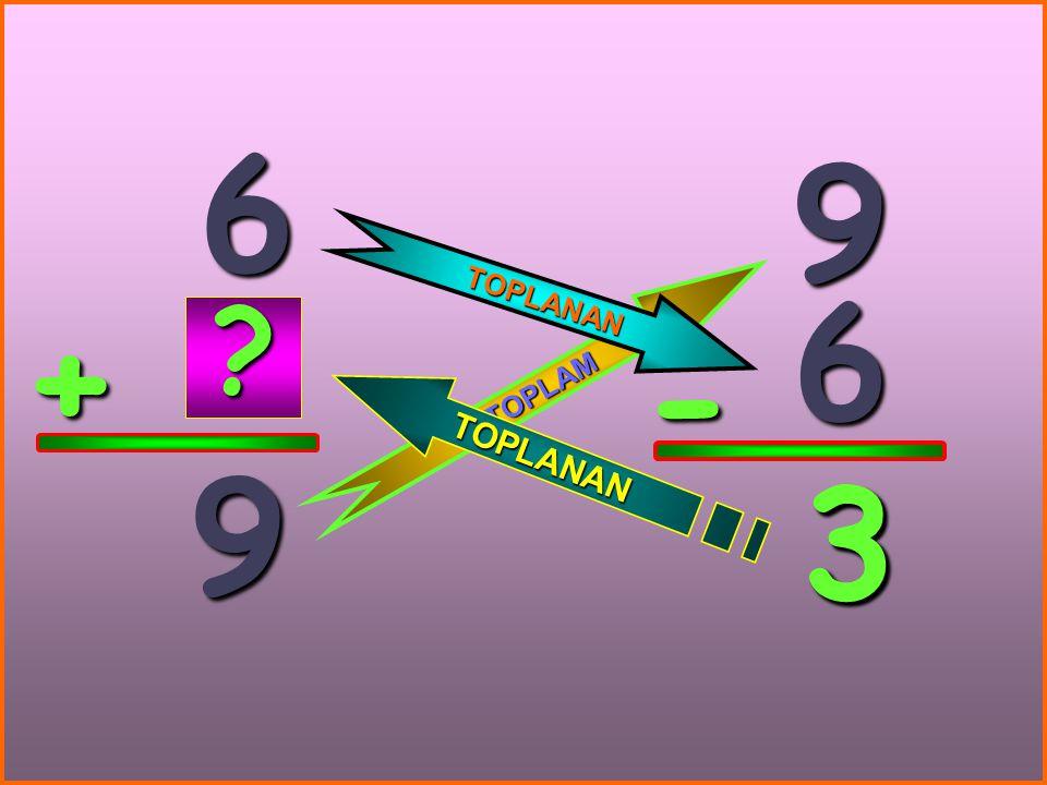 6 9 TOPLANAN 6 + TOPLAM - 9 3 3