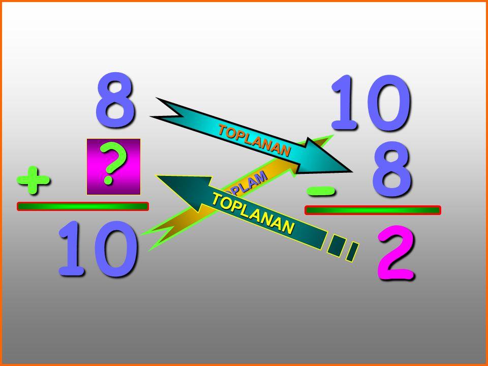 8 10 TOPLANAN 8 + - TOPLAM 10 2 2