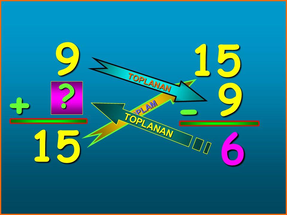 9 15 TOPLANAN 9 + - TOPLAM 15 6 6