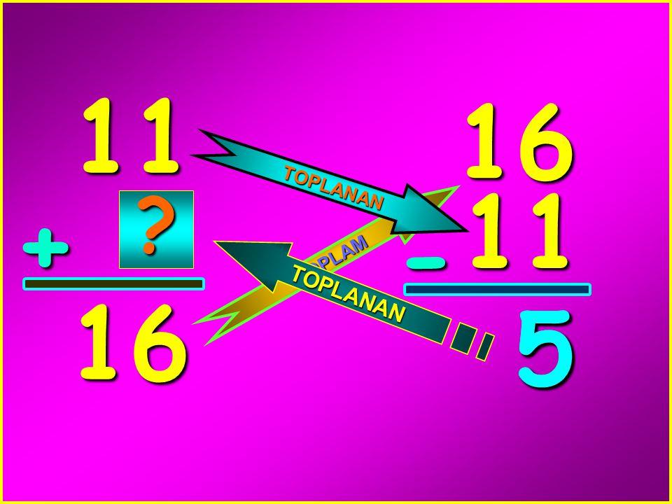 11 16 TOPLANAN 11 + - TOPLAM 16 5 5