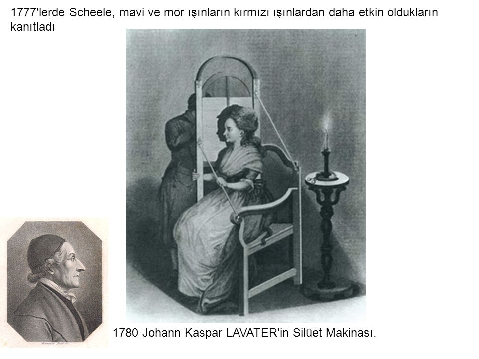 1777 lerde Scheele, mavi ve mor ışınların kırmızı ışınlardan daha etkin oldukların kanıtladı
