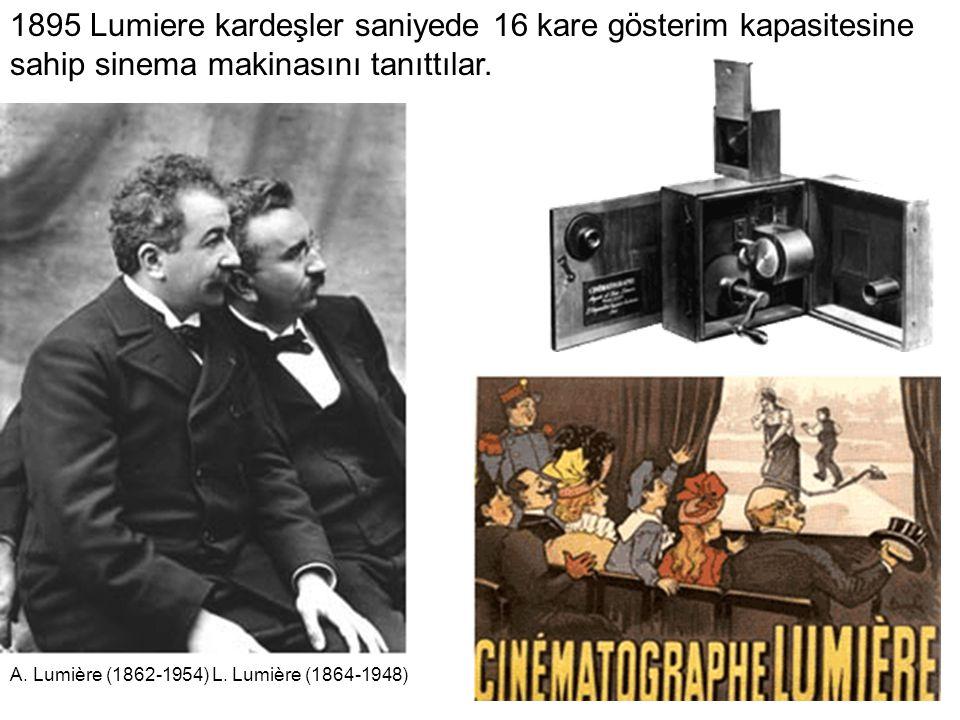 1895 Lumiere kardeşler saniyede 16 kare gösterim kapasitesine sahip sinema makinasını tanıttılar.