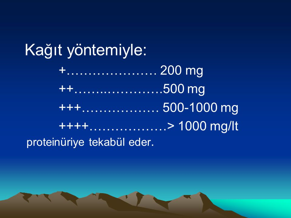 Kağıt yöntemiyle: +………………… 200 mg ++……..………….500 mg