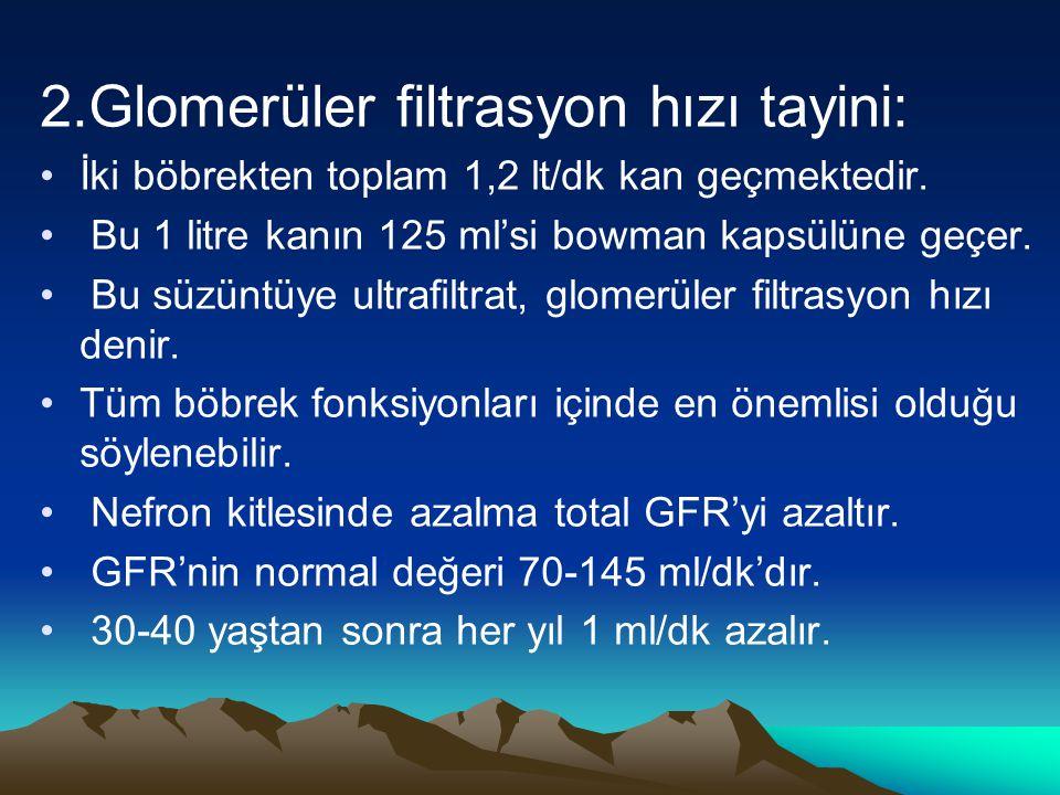 2.Glomerüler filtrasyon hızı tayini: