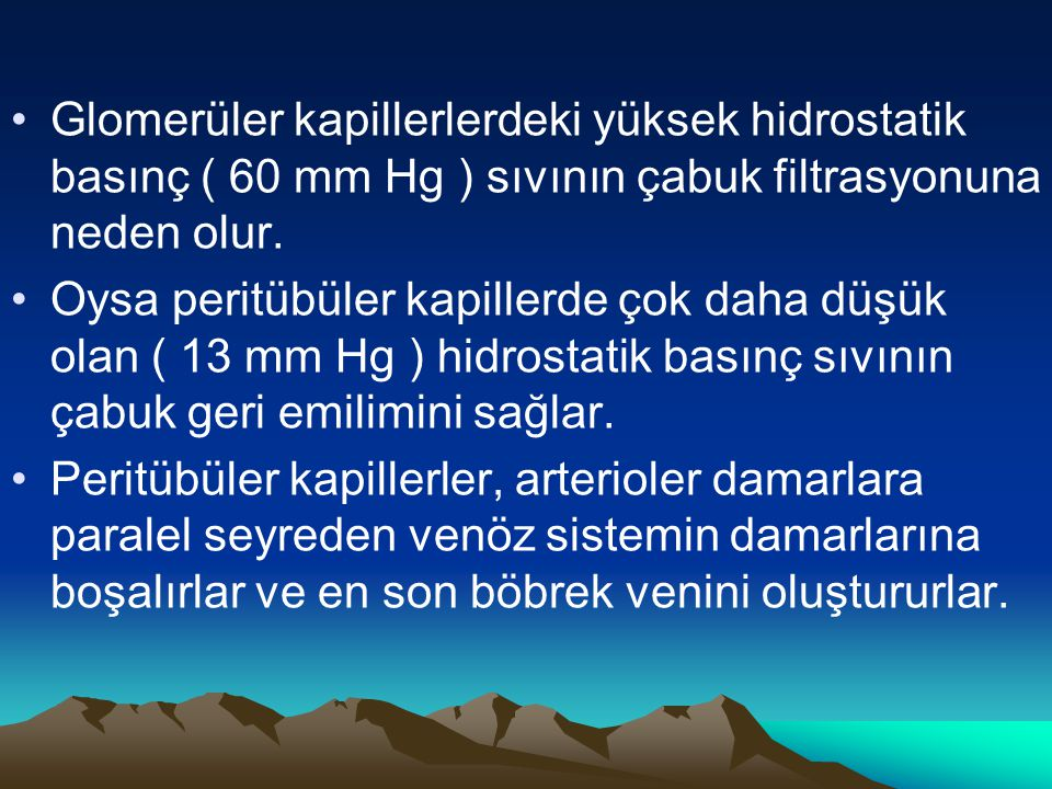 Glomerüler kapillerlerdeki yüksek hidrostatik basınç ( 60 mm Hg ) sıvının çabuk filtrasyonuna neden olur.