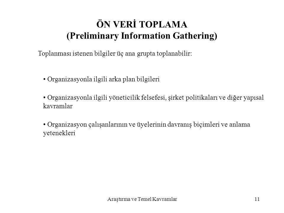 ÖN VERİ TOPLAMA (Preliminary Information Gathering)