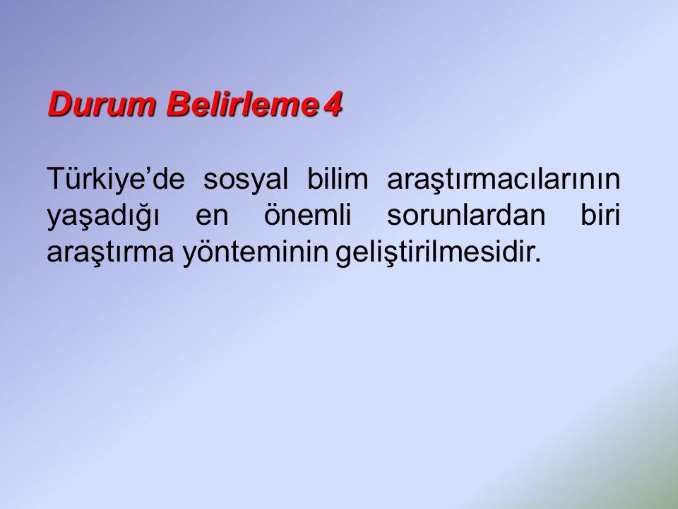 Durum Belirleme 4 Türkiye'de sosyal bilim araştırmacılarının yaşadığı en önemli sorunlardan biri araştırma yönteminin geliştirilmesidir.
