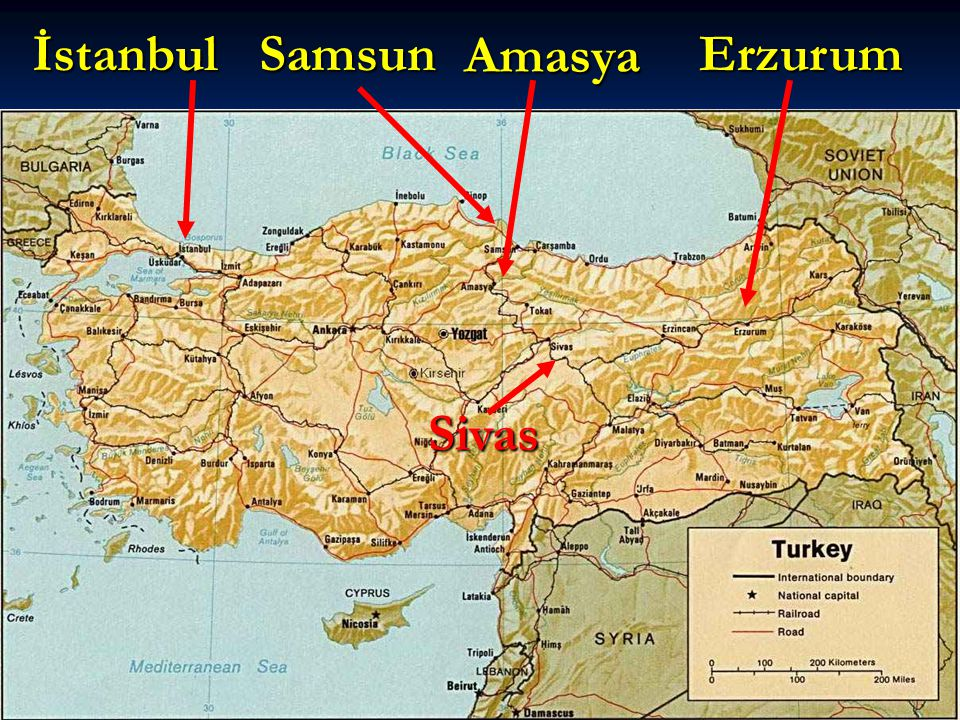 İstanbul Samsun Amasya Erzurum Sivas
