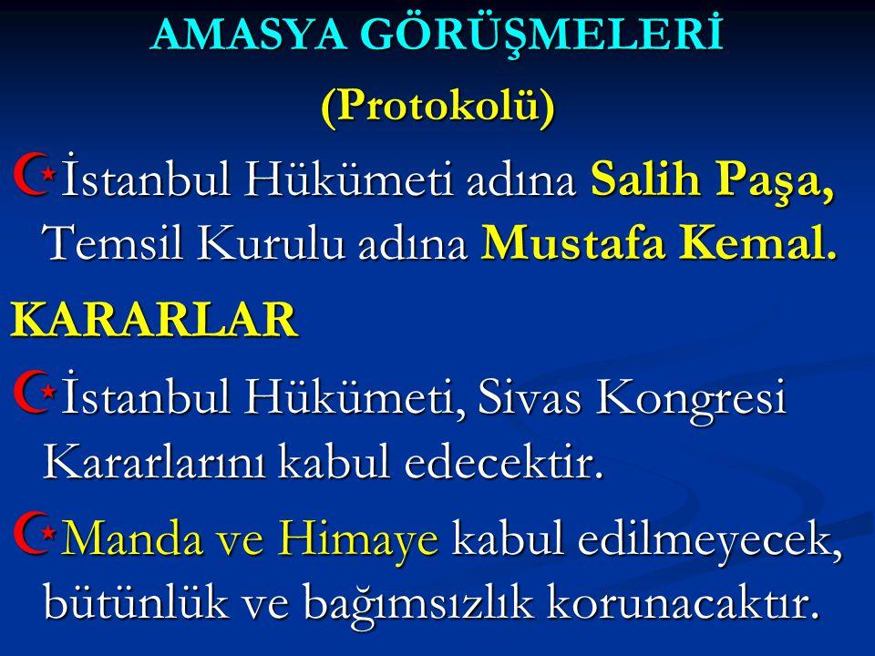 İstanbul Hükümeti adına Salih Paşa, Temsil Kurulu adına Mustafa Kemal.