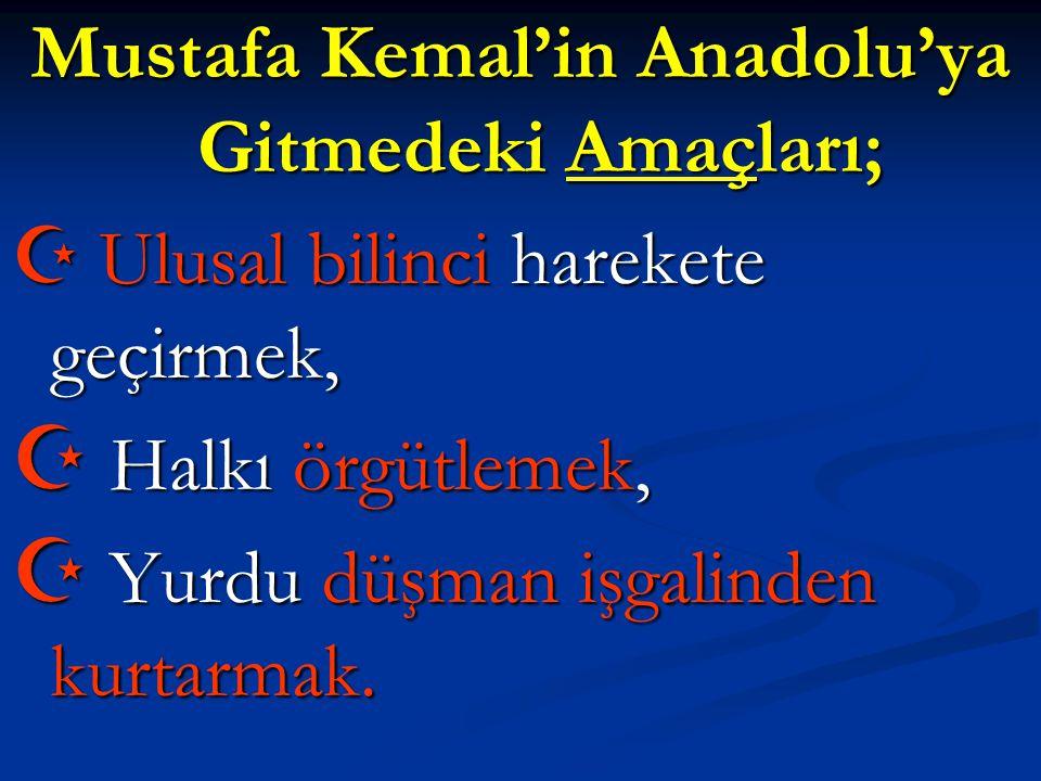 Mustafa Kemal'in Anadolu'ya Gitmedeki Amaçları;