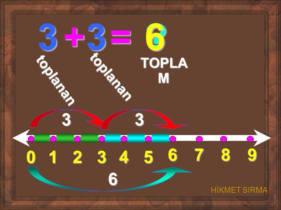 3 + 3 = 6 3 3 6 7 8 9 1 2 3 4 5 6 TOPLAM toplanan toplanan