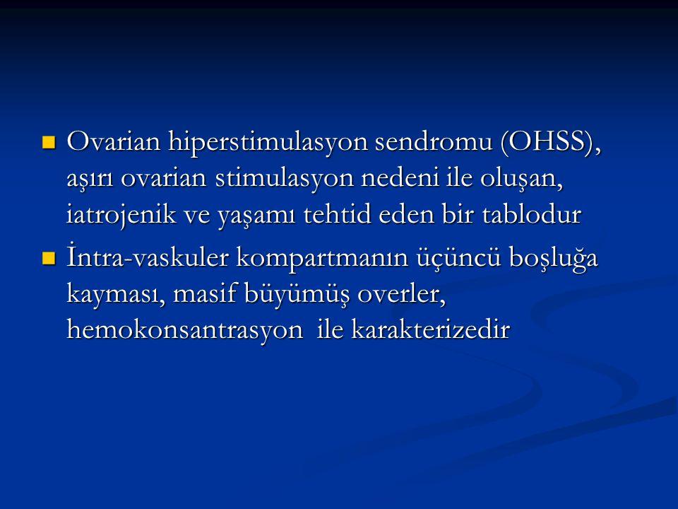 Ovarian hiperstimulasyon sendromu (OHSS), aşırı ovarian stimulasyon nedeni ile oluşan, iatrojenik ve yaşamı tehtid eden bir tablodur