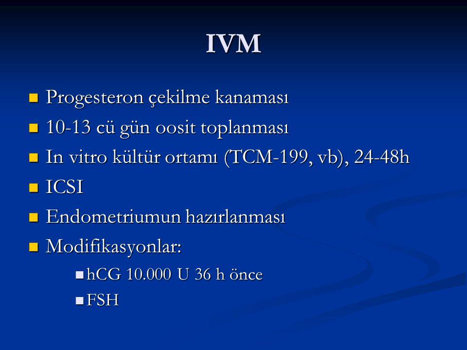 IVM Progesteron çekilme kanaması 10-13 cü gün oosit toplanması
