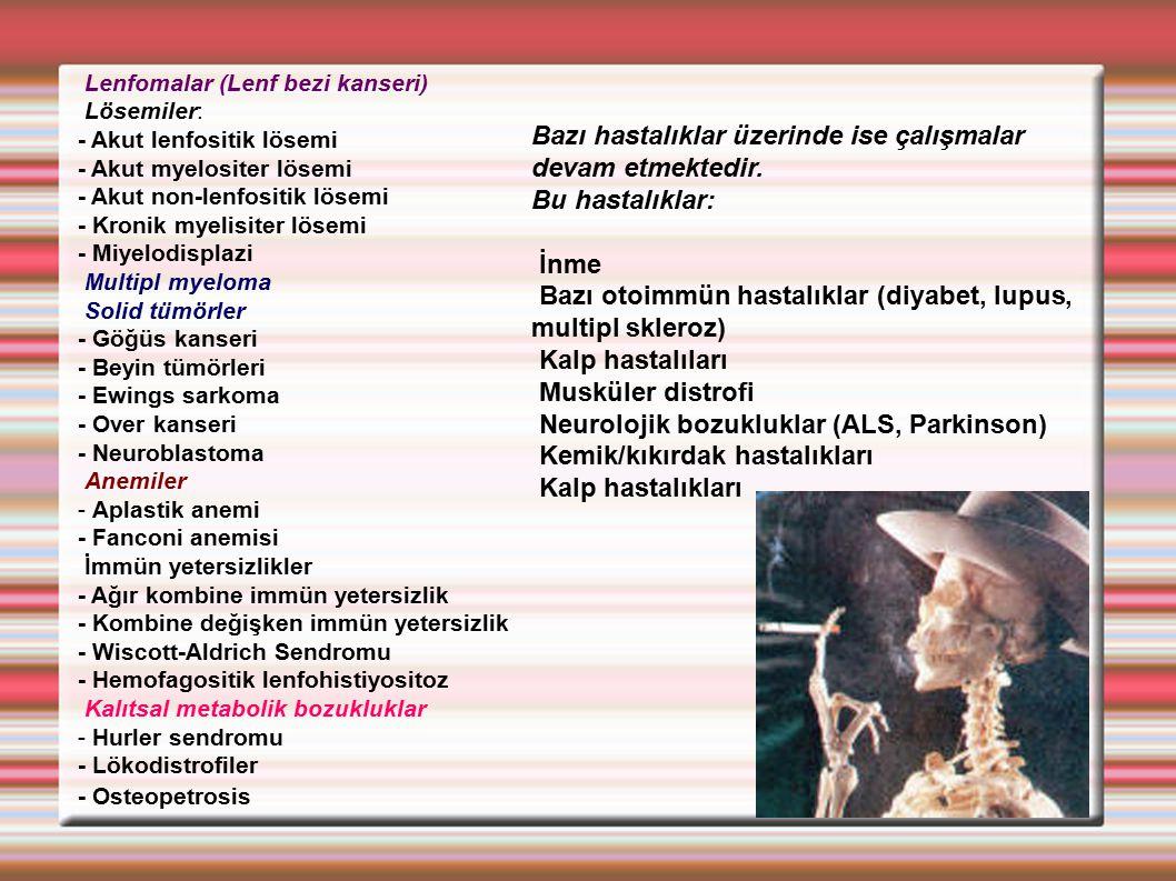 Bazı hastalıklar üzerinde ise çalışmalar devam etmektedir.