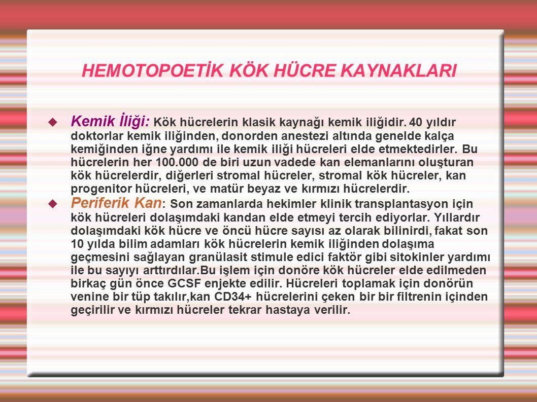 HEMOTOPOETİK KÖK HÜCRE KAYNAKLARI