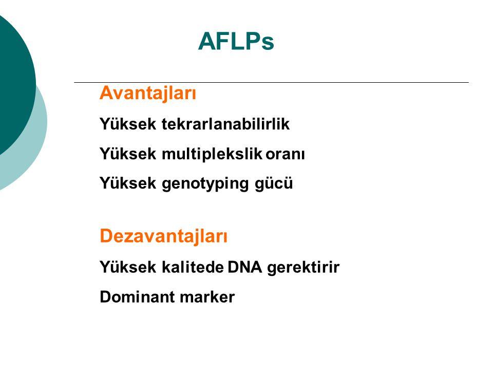 AFLPs Avantajları Dezavantajları Yüksek tekrarlanabilirlik