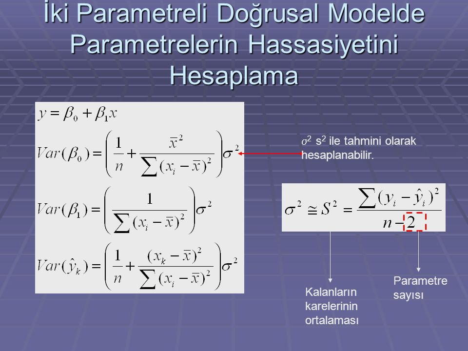 İki Parametreli Doğrusal Modelde Parametrelerin Hassasiyetini Hesaplama