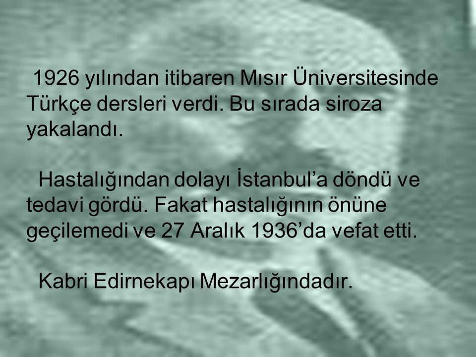 1926 yılından itibaren Mısır Üniversitesinde Türkçe dersleri verdi