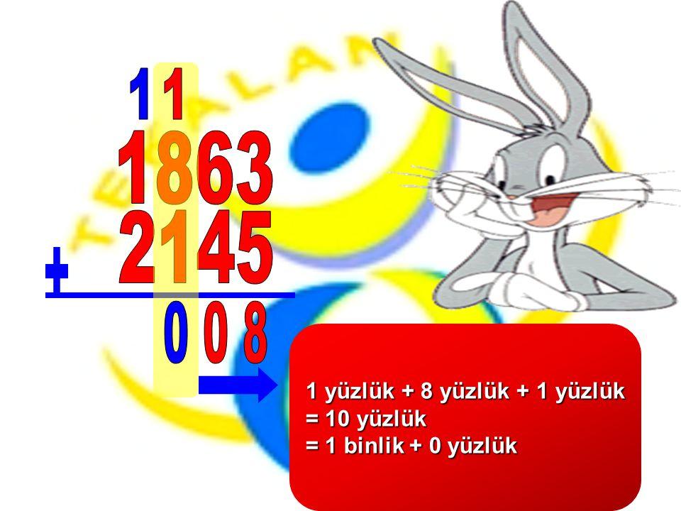 1 yüzlük + 8 yüzlük + 1 yüzlük