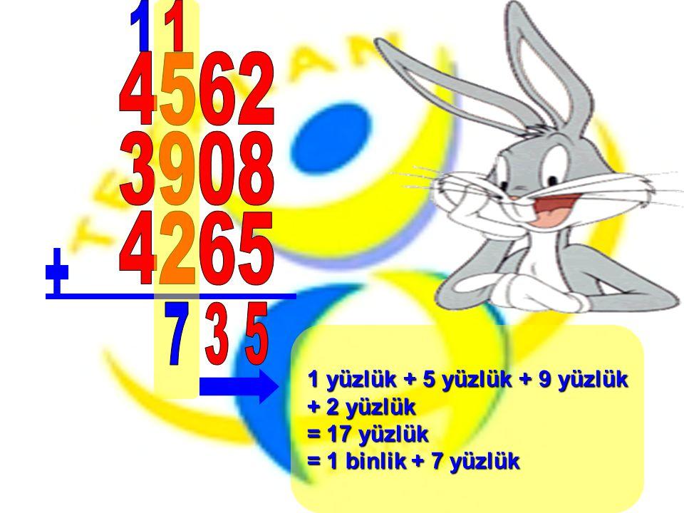 1 yüzlük + 5 yüzlük + 9 yüzlük