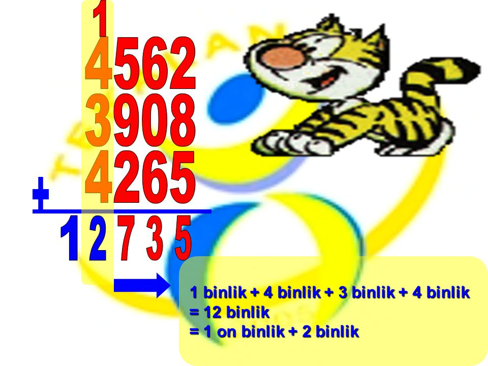 1 binlik + 4 binlik + 3 binlik + 4 binlik