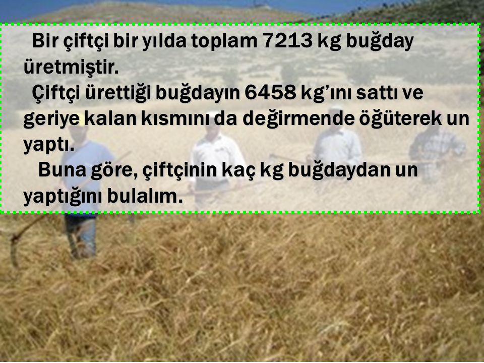 Bir çiftçi bir yılda toplam 7213 kg buğday üretmiştir.