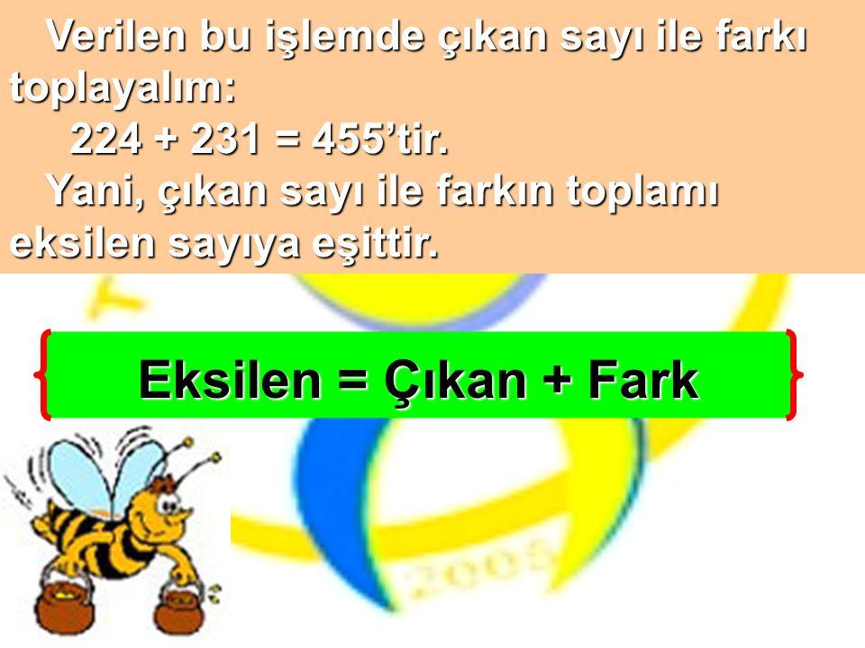 Eksilen = Çıkan + Fark Verilen bu işlemde çıkan sayı ile farkı
