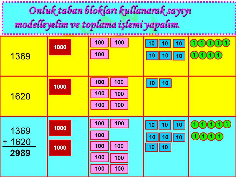 Onluk taban blokları kullanarak sayıyı modelleyelim ve toplama işlemi yapalım.